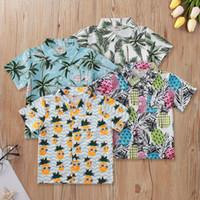 Erkek bebek t gömlek yaz tropik bohemia kısa kollu palm ananas baskılı çocuk yaka gömlek düğmesi