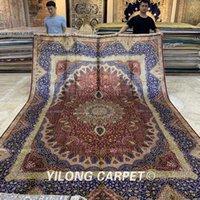 Yilong 9.2'x12.8' main tapis en soie oversize persane nouée tapis rouge médaillon Qum (de ZQG282A)