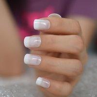 24pcs Ombre Jelly Белых французского Поддельные Гвозди Squoval площадь УФ Ложный Нажмите на ногтях для девушки полного покрытия Finger Wear Nail Art Советов