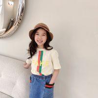 Nouveaux enfants Summer T-shirt Mode 2021 Enfants garçons filles courtes chemises coton garçon vêtements deux couleurs hauts