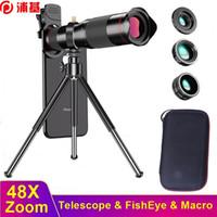 48x HD Telefone Celular Zoom Lente de Câmera Fish Olho Macro Lente para iPhone Samsung Smartphone Lentille Lente Para Celular