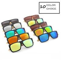 원래 목조 대나무 선글라스 남자 여자 미러 된 UV400 태양 안경 진짜 나무 그늘 골드 블루 야외 고글 Sunglases 남성