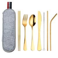 8 stücke Sets Messer Gabelschaufel gerade Gebogene Strohstöcke Pinsel Edelstahl Tragbare Tasche Geschirr Anzüge Reisegerät Neue 18 8WL K2