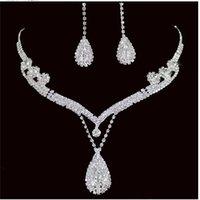 Горячая продажа Свадебные украшения 3 шт ожерелье серьги Кристалл аксессуары коготь цепи Алмазные На складе Быстрая доставка Высокое качество
