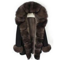 Furtjy 2020 новый реальный меховой мех Parkas для женщин зимняя вариация с натуральным меховым воротником черная куртка 90 см длинные пальто плюс размер