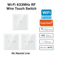 Interrupteur tactile intelligent Aucune ligne neutre 1/2/3 gang wifi RF 433mHz Interrupteur de lumière avec porte de garage Interrupteur de panneau sans fil T200605