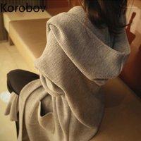 Korobov 2020 Yeni Sonbahar Dış Giyim Kadın Hırka Vintage Katı Cepler Uzun Örme Büyük Boy Kapüşonlu Ince Kazak Üstleri 786421