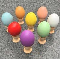 Multicolor деревянные пасхальные яйца 4,5 * 6 см пасхальный день Древесина игрушки сплошной цвет DIY живопись яйцо для детей подарки апрель дураков SN2310