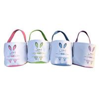 Pascua algodón tela conejo oreja bolsa conejito orejas cesta regalo pascua regalo caramelo cubo bolsa de almacenamiento de lona portátil Poner huevos de Pascua Bolsas de almacenamiento