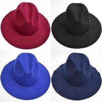 Las nuevas mujeres de fieltro de lana de las señoras del sombrero de ala blanda Moda de ala ancha sombreros Mujer Estilo retro británico del sombrero de copa del resorte del invierno
