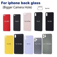 iPhone 11 11 pro 8 8 artı X'in XS MAX pil cam arka cam yedek arka kapak muhafazası büyük bir delik kamera cam için