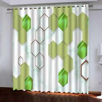 green geometric curtains Customized curtains complex classic...