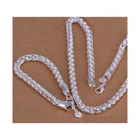 Venta al por mayor - Precio más bajo Regalo de Navidad 925 Collar de moda de plata esterlina + Pendientes Conjunto QS034 MET4W