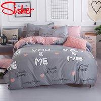 Shara Nordic Bedging Sets Sets Sets Size Plane Lait Лист цветочные плещеные полоса для одеяла Одноместный двойной King Set Крышка одеяла Крышка Кровать T200826