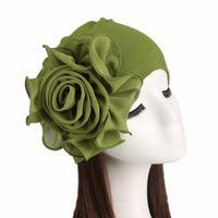 Beanie / Carrileras de cráneo 2021 Mujer hermosa flor turbante elástico paño cabeza gorra sombrero musulmán hijabs hijabs damas accesorios de pelo bufanda