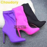 Botas Choudory Tecido Elástico Meio-bezerro Ponto Ponto Tee Vestido Sapatos Stiletto Heels Lime Amarelo Pink Pumps1