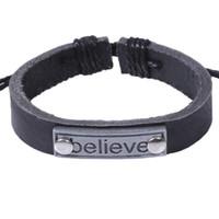 Leather Charm Bracelet Acredite melhores amigos presente Amizade pulseiras