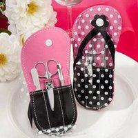 favorisce 100pcs di nozze regali Fiore Flip-flop da manicure white dot pantofola forma cura delle unghie set + trasporto libero del DHL