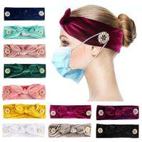 Женская кнопка повязка на голову мода маска держатель эластичный оголовье кролика уши головы обертка бандана чистые цвета аксессуары для волос dda732