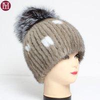 I cappelli genuini di lusso della signora invernale donne calde i berretti del visone reale con il tappo di pelliccia. Modo morbido cappello naturale al 100 %11