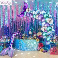 Fengrise 44PCS / SET Balloon Mittle Manmaid Тема Вечеринка Русалка Декор Русалка Декор на день рождения для детей Подожживать День рождения Свадьба Y201006