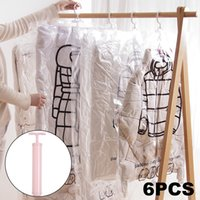 / Set Elbise için Vakum Çanta Asmak Katlanabilir Şeffaf Kenarlık Sıkıştırma Organizatör Kılıfı Mühürlü Saklama Torbaları Save Space LJ201114