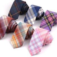 Numéros de coton Plaid pour hommes Femmes Casual Purple Groom Necktie Partie de mariage Filles Filles SuitStie Skinny Gravatas