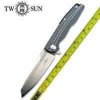 New Noite Manhã Projeto TwoSun Facas D2 Lâmina Rolamentos rápido Abra o bolso faca dobrável TS16-G10