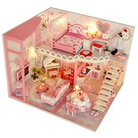 CuteBee دمية منزل مصغرة دمية مع الأثاث كيت خشبي منزل miniaturas لعب للأطفال السنة الجديدة عيد الميلاد هدية LJ201126