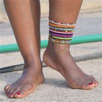 Kristal Boncuk Halhal Trendy Bilek Bilek Bilezik Tasarımcılar El yapımı Plaj Halhal Stretch Bileklik Barefoot Sandalet Ayak Takı LY10191