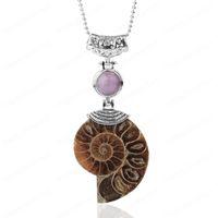 Colar animal Natural amonita Pendant Metade Cut Snail Shell Conch Reliquiae de cristal roxa Mulheres Homens Jóias