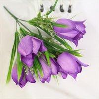 Flores decorativas guirnaldas artificial flor tulipán 7 tenedor abriendo sonrisa pequeño montón de la decoración de la casa falsa sala de estar de la sala de estar de seda