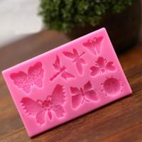 Butterfly Dragonfly Forma animale Forma del silicone Stampo per torta in silicone, Stampo per il Bakeware per biscotti al cioccolato Argilla Strumenti di decorazione della torta fondente