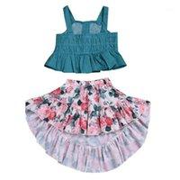Original Zebra Lembre-se de roupas de menina conjunto pontos sling top + flor irregular saia de dois peça criança roupa roupas trajes para kids1