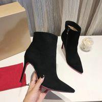 مصمم الأزياء النسائية الأحذية مثير السيدات الأحمر أسفل الأحذية عالية الكعب مضخات فاخرة أشار أصابع القدم الأسود الجلد المدبوغ الجلود الكاحل أحذية الشتاء