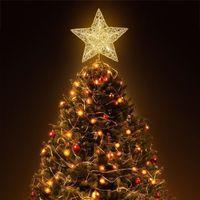 Nicexmas Christmas Tree Top LED Light Star Weihnachtsbaum Goldstern Topper Dekoration Batteriebetriebene Treetop Ornament Neue Ankunft 201127