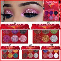 KA Cayla 6 Color Shadows Palete Diamante Shimmer Eye Maquiagem Cosméticos Realce Eyeshadow Pressionado Glitter Palette