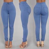 Mode Femmes Designer Jeans Plus Taille Womans Vêtements Femme Femme Femme Jeans Femme Haute Taille Force élastique Trou Crayon Pantalon Hot Dj292