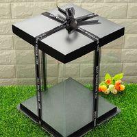 Şeffaf Plastik Hediye Kutusu Yapay Gül Çiçek Hediyeleri Organizatör Saklama Kutusu Siyah Kapak Ayı sabunu Çiçek Doğum Cak paket kutu