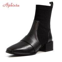 Aphixta Plus-Big Szie 43 44 Socken Stiefel für Frauen Fashion Square Toe 6cm Platz Heels Ankle Boots Slip-on Schuh-Frauen-Boote