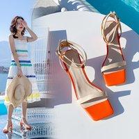 2021 Bayan Ayakkabıları Sıcak Sandalet Boyutu 22-26 Bayanlar Topuklu Topuklu Beş.5 cm Tall Sekiz Inç Lambskin + Pigskin X873
