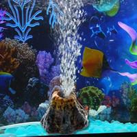 ديكورات الديكور بركان الشكل الديكور حوض السمك فقاعة حجر خزان الأسماك الأكسجين لعبة مضخة الهواء