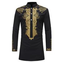 Nova 2020 Dashiki Moda Africano Tradicional Impresso rico Bazin Men manga comprida África Vestuário Vestido Thobe para camisa do homem