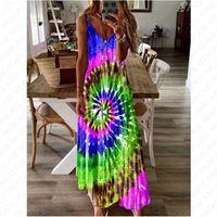 5XL 여성 여름 맥시 드레스 디자이너 넥타이 염료 소용돌이 긴 드레스 민소매 조정 가능한 스트랩 출산 드레스 전체 해변 의류 D7104