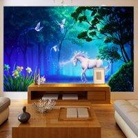 Персонализированная настройка 3D Stereo Сказочный лес Fluorescent Белая лошадь Фото Фреска Обои Гостиная Backdrop Фреско