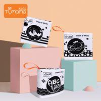 Tumama Kids Детская Детская Ткань Книга 3 шт. Черно-белая ткань Книга Детская коляска Подвесные игрушки Раннее обучение Образовательные игрушки LJ201118