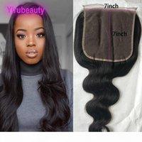 Raw Virgin Hair 7X7 Dentelle Fermeture du corps indien vague 8-26inch 100% humains Produits Cheveux Haut Closures Couleur naturelle 8-26inch