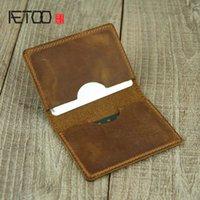 HBP AETOO حامل بطاقة مصغرة، كيس رخصة رخصة جلد البقر مصنوع يدويا، محفظة صغيرة عملة صغيرة