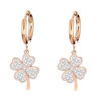 Aro huggie quatro folhas trevo brincos claro cristal ouro prateado aço inoxidável pendurado para mulher coreana jóias acessórios1