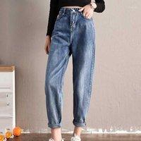 Jeans femininos 2021 verão na cintura alta para as mulheres perna larga mais tamanho Solid Demin Harem Calças Lolas do comprimento do tornozelo das mulheres